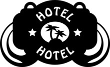 Tropical Hotel Sign, Vector Il...