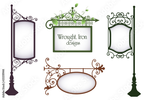 Canvas Print Wrought iron vintage signs
