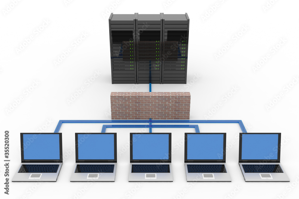 Fototapeta Computer network with server and firewall
