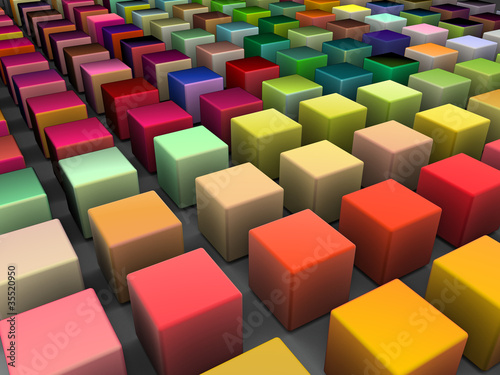 Fototapety, obrazy: 3d render of beveled cubes in multiple bright colors