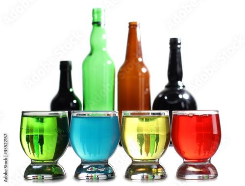 Fototapeta Cocktail cups and bottle obraz na płótnie