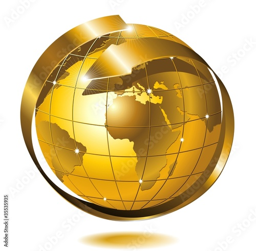Photo Stands Draw Mondo Globo d'Oro con Freccia-Globe Golden World-Vector