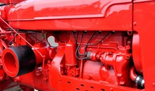 Bright Red Tractor Engine