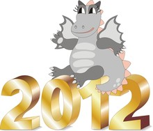 Cartoon Dragon Sitting On Gold Letters 2012 In Vector