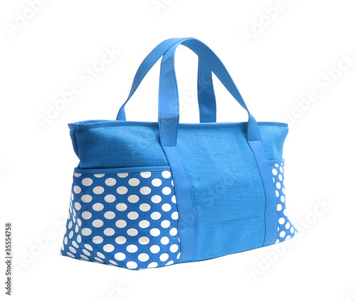 9592e16a5 bright blue striped beach bag isolated on white - Buy this stock ...