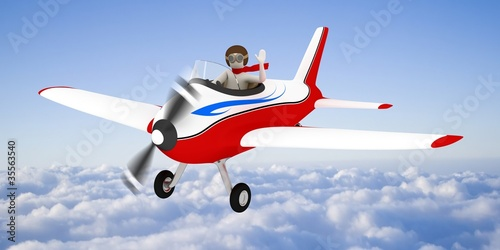 Papiers peints Avion, ballon White man flying in the sky, over the clouds