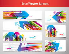Set Of Gift Cards And Banners With Arrows.