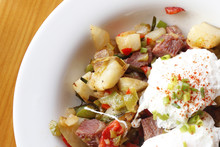Corned Beef Hash With Poached Eggs.