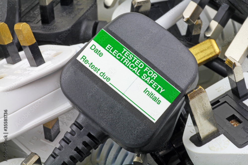Fototapeta blank pat test sticker on plug
