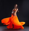 beauty dancer posing in traditional orange costume