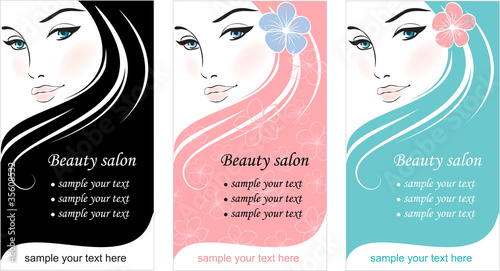 Stylish face of woman. Template design card #35608532