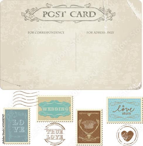 Fotografia  Vintage Postcard and Postage Stamps - for wedding design, invita