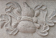Bottle Gourd Stone Carved On Wall At Chinese Temple In Thailand