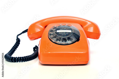 Fotografie, Obraz  Retro Telefon Orange