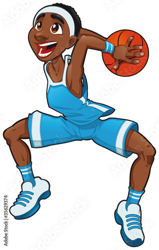 Poster Chambre d enfant Basketball boy. Cartoon and vector isolated character