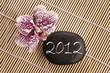 2012, galet et orchidée