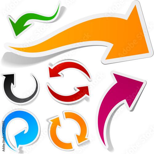 Fotografía  Color arrows sticker set.