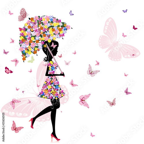 Naklejka premium kwiat dziewczyna z parasolem