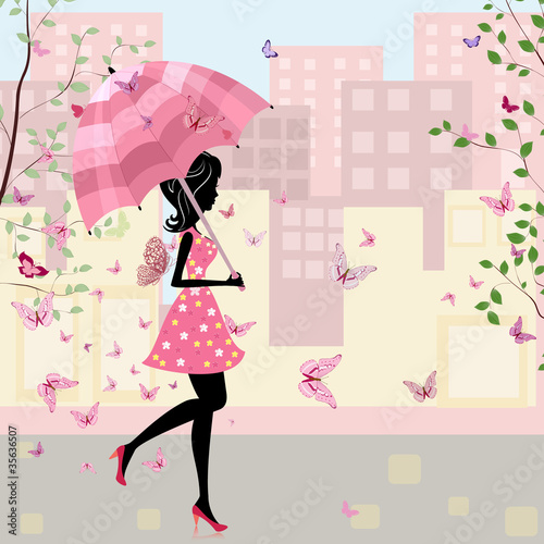 Poster Bloemen vrouw beautiful girl with an umbrella in the city