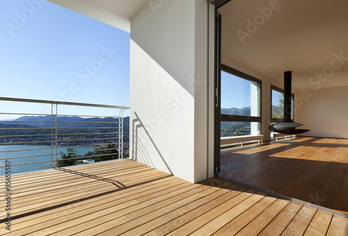Modern apartment,.balcony with panoramic view Canvas Print