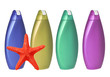 Colorful shampoo bottles and red sea-star isolated on white