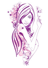 Abstract beautiful girl with violet flowers and butterflies