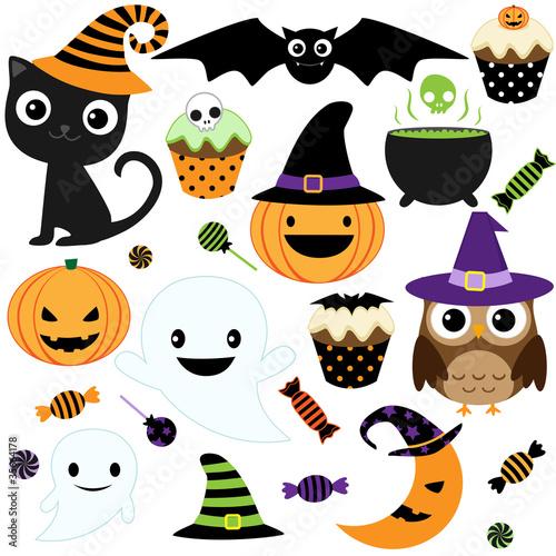 Naklejka premium Zestaw elementów Halloween wektor ładny, obiekty i ikony