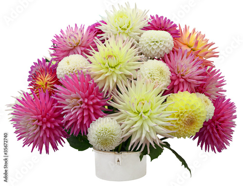 Cuadros en Lienzo Flower arrangement of chrysanthemums and dahlias