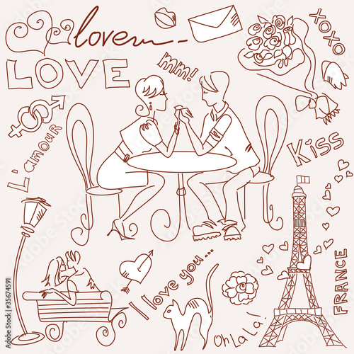 Photo sur Toile Doodle LOVE in Paris doodles