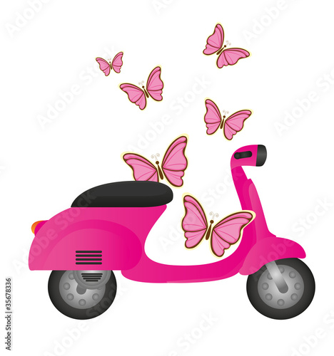 Poster Motocyclette cute motorbike