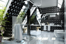 Bathroom In Silver-black