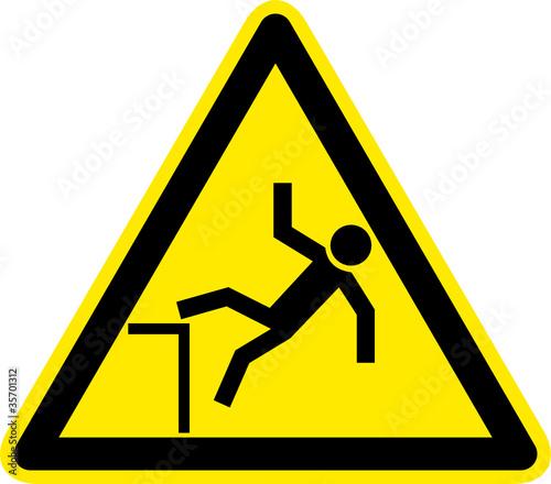 Obraz Warnschild Warnzeichen Absturzgefahr Unfallgefahr - fototapety do salonu