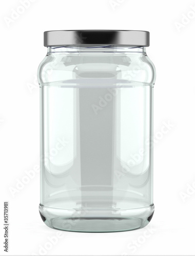 Fotografía  Empty Glass Jar over white background