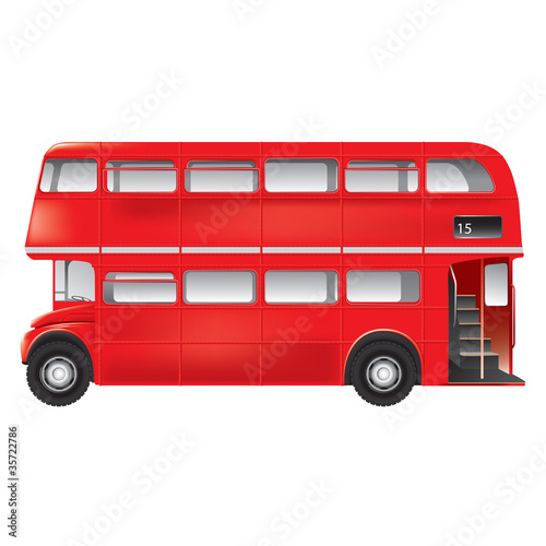 Fotografie, Tablou  London symbol - red bus - isolated -detailed illustration