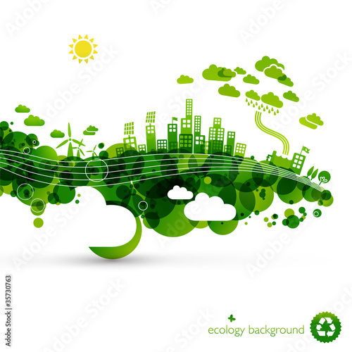 Foto  green eco town - abstract ecology town illustration