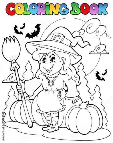 Tuinposter Doe het zelf Coloring book Halloween character 4