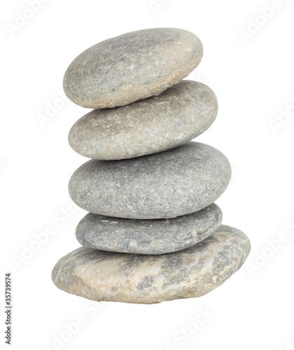 Tuinposter Stenen in het Zand isolated Stacked stones