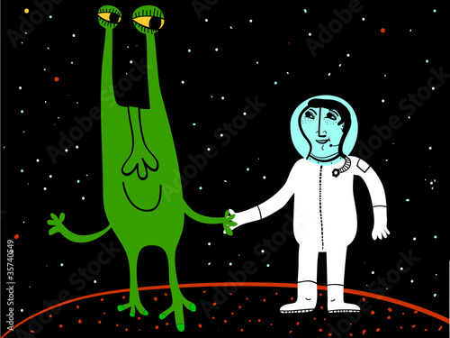 Poster de jardin Creatures space friends