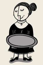 Nice Woman With Oval Metal Tray