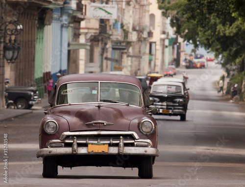 Deurstickers Cubaanse oldtimers auto cuba 02