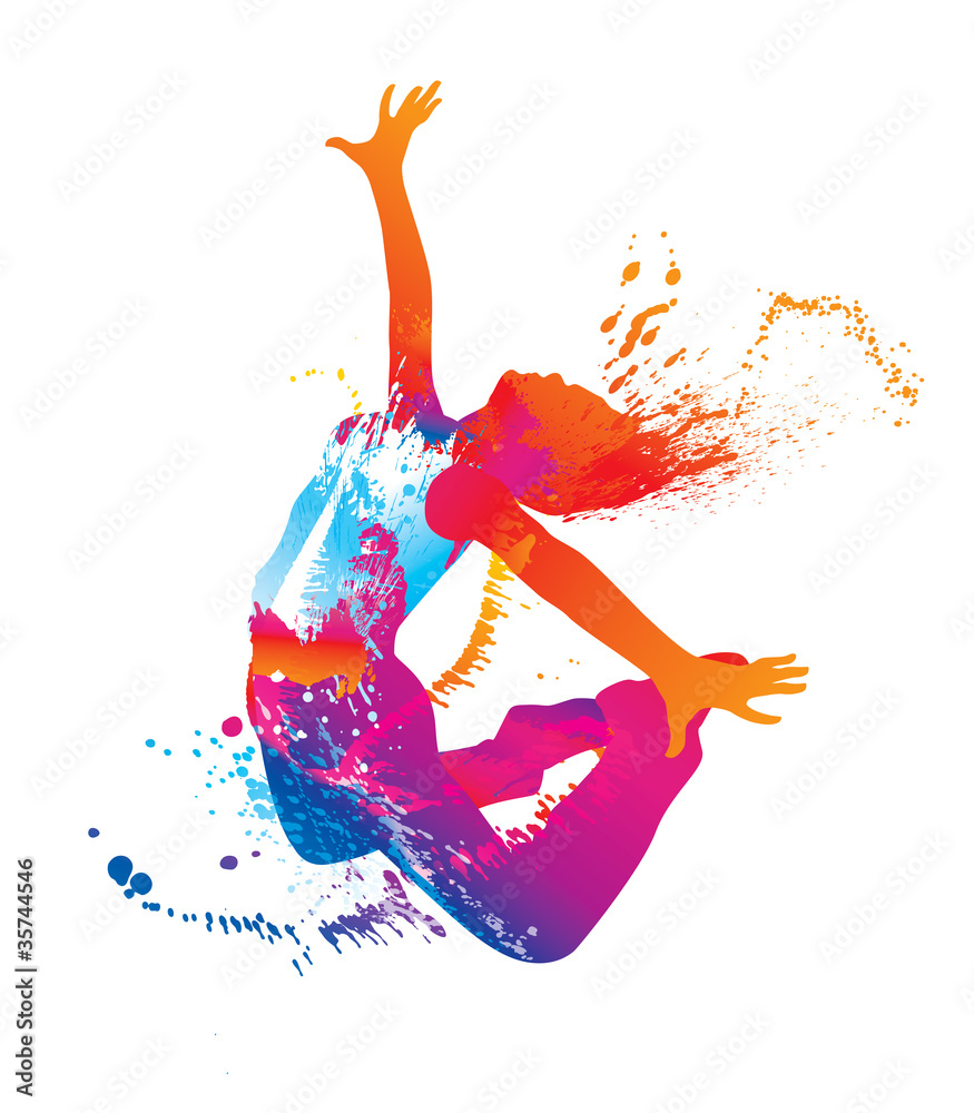 Fototapety, obrazy: The dancing girl with colorful spots and splashes on white