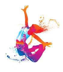 FototapetaThe dancing girl with colorful spots and splashes on white