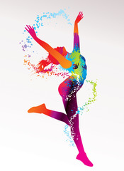 FototapetaThe dancing girl with colorful spots and splashes on a light bac