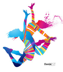 FototapetaTwo dancing girls with colorful spots and splashes on white