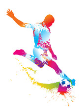 Soccer Player Kicks The Ball. ...