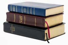 Stack Of Old Bibles.