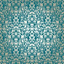 Seamless Damask Pattern Turquo...