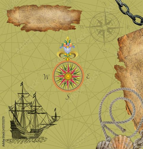 In de dag Retro Pirate map illustration