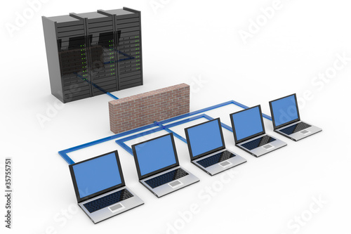 Fotografía  Computer network with server and firewall