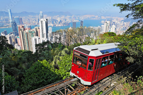 Photo  Tourist tram at the Peak, Hong Kong